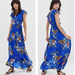 BAND OF GYPSIES Floral Wrap Front Maxi Dress